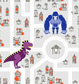 Monsters to destroy city seamless pattern Godzilla vector image