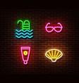 neon swimming poolsunglasses sunscreen shell vector image vector image