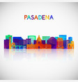 pasadena skyline silhouette in colorful geometric vector image vector image