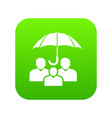 people protection icon green vector image vector image