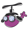 purple helicopter with glasses on white vector image vector image