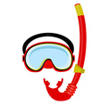 Red diving mask and tube vector image