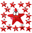 Red sea star cartoon with many expressions vector image vector image