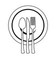 set cutlery tools in cup vector image vector image
