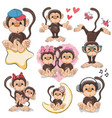 set of cute cartoon monkeys vector image vector image