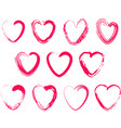 set of different brush hearts isolated objects on vector image vector image