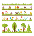 Set of flat forest design elements Mushrooms grass vector image