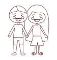 sketch contour smile expression cartoon couple vector image vector image