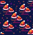 smiling santa hat seamless pattern vector image