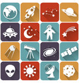 space and astronomy flat icons set vector image