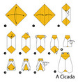 step instructions how to make origami a cicada vector image vector image