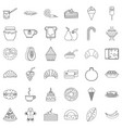 sweet candy icons set outline style vector image vector image