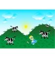 The little girl walking on a meadow vector image