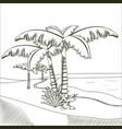 tree palms on desert hand drawn vector image