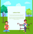 urban park web banner with people in wi-fi zone vector image vector image