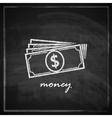 vintage with money on blackboard background vector image vector image