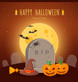 witch hat and besom on grave vector image vector image