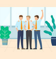 workers winning team celebration employee vector image vector image