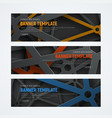 set of horizontal web banners with intersecting vector image