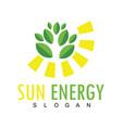 sun leaf energy logo vector image