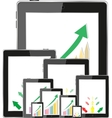 Business dashboard with graphs in a pc tablet vector image