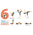 6 yoga poses for strengthen knees concept vector image vector image