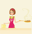Beautiful lady cooking meat and soup vector image vector image
