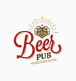 beer pub vintage logo on white background vector image vector image