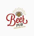 beer pub vintage logo on white background vector image