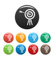 brand company target icons set color vector image vector image