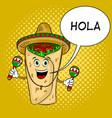 burrito and maraca pop art vector image vector image