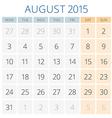 Calendar 2015 August design template vector image vector image