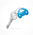 Car keys and blue key chain vector image