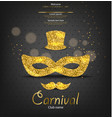 carnival golden glitter mask realistic man vector image vector image
