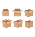 carton delivery and storage packaging open box set vector image