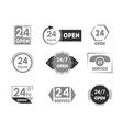 cartoon 24 hours open service tag icon set vector image vector image