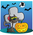Cat And Winking Halloween Jackolantern Pumpkin vector image vector image
