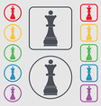 Chess Queen icon sign symbol on the Round and vector image