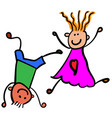 children playing boy with girl color vector image