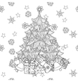 Christmas fir tree with gifts vector image