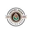 coffee shop badge retro logo and icon design vector image vector image