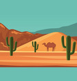 desert landscape poster with cartoon camel vector image