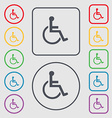 disabled icon sign symbol on the Round and square vector image