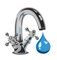 dripping water on faucet vector image vector image