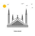 faisal mosque monument world travel natural vector image