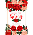 floral roses poster for spring time season vector image vector image