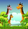 giraffe cartoon with forest background vector image