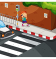 Girl talking on the phone on the road vector image vector image