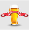 glass light beer on white vector image vector image
