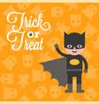 halloween character hero bat boy costume on ghost vector image
